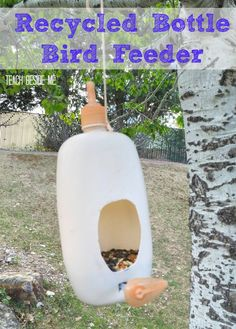 This Recycled bottle bird feeder is a great Earth Day eco-friendly craft! #CareToRecycle #CG
