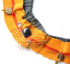 Recycled fabric bib necklace with safety pins and by lillicose, $32.27