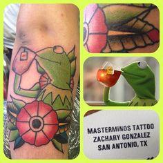 Kermit drinking tea by Zach Gonzalez at MasterMinds Tattoo in San Antonio, Texas