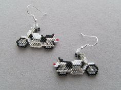 Small Pearl White Motorcycle Earrings in by DsBeadedCrochetedEtc