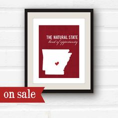 Clearance SALE  Arkansas Map  Arkansas Art  by PaperFinchDesign, $5.00