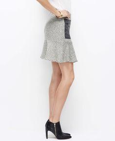 Colorblock Tweed Flounce Skirt | Ann Taylor