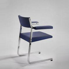 Joseph-André Motte; Chromed Steel and Vinyl 'Rigel' Chair for Steiner, 1965.