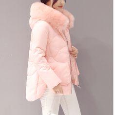Mùa đông áo khoác nữ cổ áo lông thú Lớn xuống bông áo khoác nữ độn bông áo khoác dày phụ nữ áo khoác mùa đông