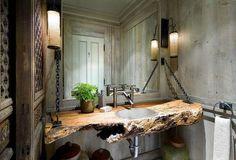 baño rústico con encimera para lavabo de tronco de madera
