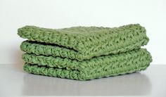 Set of 2 Green Square Crochet Kitchen Durable Dishcloths – Robin Harley - 30% off all dishcloths Coupon Code SALETOBER all October long!