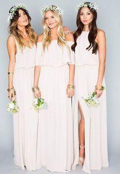 Chiffon Bohemian Bridesmaid Dress with Side Split