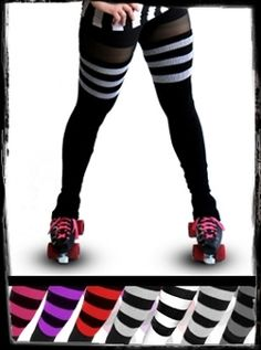 Roller Derby Athletic Striped Leg Warmers