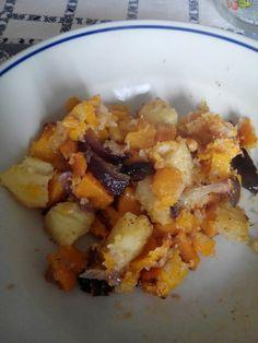 Zucca e patate al forno.