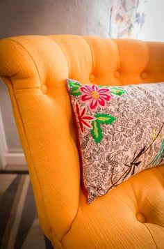 Têxteis | Textiles | Almofadas | Cushions | Pillows  Orange | Flower Prints