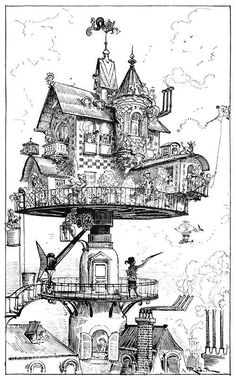 Steampunk weddings really caught my attention this week. Earlier this week I heard the term 'Steampunk' used while watching the Tournament of Champions on Jeopardy. A reference to Steampunk. Colouring Pages, Coloring Books, Coloring Sheets, Casa Steampunk, Steampunk Wedding, Gothic Steampunk, Grafic Design, Albert Robida, House Drawing