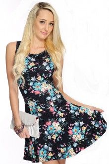 Black Floral Print Sleeveless A-Line Dress Dresses For Teens, Trendy Dresses, Sexy Dresses, Hot Outfits, Dress Outfits, Clubwear For Women, Ball Dresses, Clothes For Women