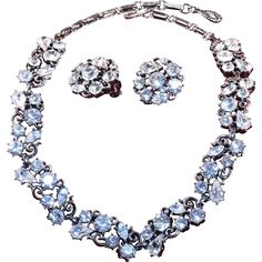 Vintage Lisner Necklace and Earrings with White Crystal Rhinestones