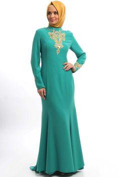 Mahber - Kuyruklu Yeşil Elbise