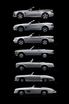 Mercedes SL 7 Generations- thinking of gpa Bill & my mom. Both could All of these apart to nuts and bolts and rebuild in no time flat. Miss you guys