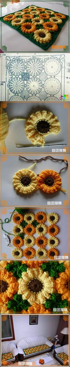DIY Crochet Sunflower Rug | www.FabArtDIY.com LIKE Us on Facebook ==>…