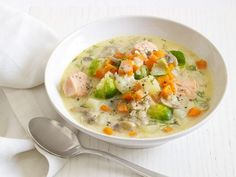 Salmon-Vegetable Chowder : White mushrooms, Brussels sprouts and bacon add texture to tender carrots and salmon.
