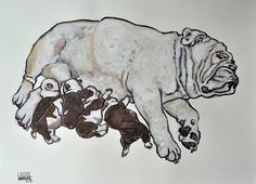 Barake Sculptor, ENGLISH BULLY MATERNITY, COLORED INK on ArtStack #barake-sculptor #art