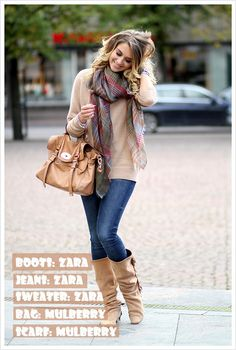Time to start dressing in layers! High shaft boots over skinny jeans are a comfortable, easy way to stay warm. Pair with a sweater and scarf.