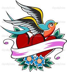 Скачать - Глотать винтажные татуировки — стоковая иллюстрация #10068881