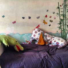 butterflies and bamboo decor, hand made elephant tells stories pillow www.toomuchlab.it