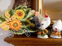 FITZ & FLOYD 3 PC SET CHANTECLAIR ROOSTER & HEN FIGURINES & PLATTER NEW IN BOXES