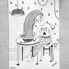 """""""Some hair in the food never killed nobody #camiapia #illustrator #illustratör #illustration #ink #art #hair #badhairday #hår"""" Photo taken by @camiapia on Instagram, pinned via the InstaPin iOS App! http://www.instapinapp.com (05/19/2015)"""