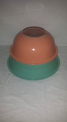 Vintage Pyrex Nesting Bowls, Set of 2, Mint,Coral, Clear Bottom Pyrex Bowl,Pyrex Mixing Bowls, 2.5 l, 1.5 L, #325, Vintage Pyrex by JunkYardBlonde on Etsy