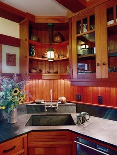 corner sink with shelves above.