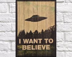• TITLE: Movie POSTER Movie Print Wood wall art decor Wood art Wood print X Files I want to believe Retro Movie poster wood decor Rustic Panel effect