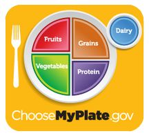 MyPlate illustrates the five food groups that are the building blocks for a healthy diet using a familiar image – a place setting for a meal. Before you eat, think about what goes on your plate, in your cup, or in your bowl.
