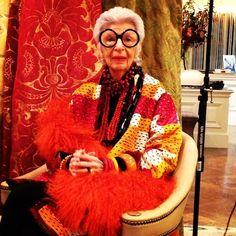 Iris Apfel- intelligent, successful, youthful, & colorful. Incredible awe!!