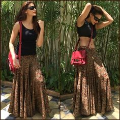 Weekend Outfit Inspiration Designer Shilpa Reddy beating the heat, wearing breathable Malkha fabric with Kalamkari print multi-panel Palazzo Pants from her Label #shilpareddystudio  #shilpareddy #indianweaves #indianhandloom #malkha #indianprints #kalamkari #palazzo #pants #instastyle #streetstyle #instafashion #indianfabrics #handloom #weekendoutfit
