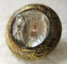 Spectacular RARE Antique Waistcoat BUTTON Chased Brass w/ Clear GLASS OWL Insert