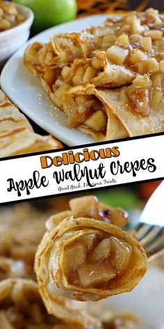 Apple Walnut Crepes Best Brunch Recipes, Easy Dinner Recipes, Easy Meals, Dessert Recipes, Favorite Recipes, Dinner Crepes, Breakfast Crepes, Apple Crepes, Divas Can Cook
