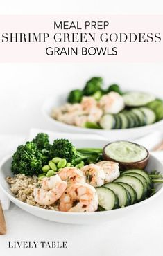 Meal prep shrimp green goddess grain bowls are delicious, nourishing bowls that are easy to make ahead or eat right away for healthy meals any time! Get the recipe for this gluten-free, nutritious meal in a bowl! Nutritious Meals, Healthy Meals, Healthy Eating, Korn, Healthy Salad Recipes, Lunch Recipes, Grain Bowl, Lunch Meal Prep, Green Goddess