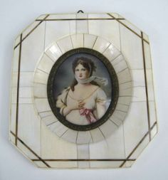 19th c. Victorian Painted on Ivory Frame Portrait Miniature 2