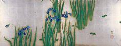 水上泰生 Minakami TAISEI. 1877–1951. Irises. Early 20th century. Japan. Screen. ink and color on silver leaf. Rinpa School 琳派