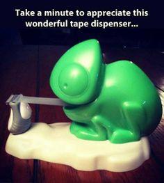 Take a minute to appreciate this wonderful chameleon lizard tape dispenser...