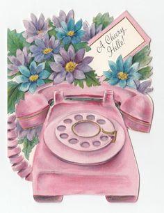Vintage Greeting Card Cute Pink Rotary Telephone Phone Die-Cut Retro Mid-Century