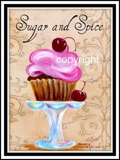 Bakery art   Sugar and Spice cupcake art bakery kitchen cake print girl cherry ...