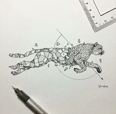 Best Geometric Tattoos And Symbolism Cheetah Drawing, Cheetah Tattoo, Cheetah Logo, Geometric Drawing, Geometric Art, Geometric Tattoo Animal, Geometric Sleeve, Animal Drawings, Jaguar Tattoo