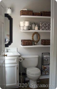 open shelv, bathroom shelving, floating shelves, bathroom makeovers, small bathroom storage, small bathrooms, bathroom ideas, bathroom shelves, tiny bathrooms