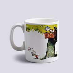 calvin and hobbes treehouse Tea Cup Morning Mug Coffee Mug Home Office  #MugDesign