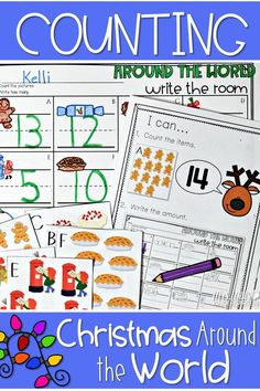 Christmas around the world center activities for kindergarten. Students will count and record the amounts on the response sheet. Fun task cards that will engage your classroom in hands on learning!