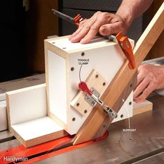 When you have to stand boards on end to machine them on a table saw, pull out this simple box. It steadies the wood so you get a straight cut. The box is made of melamine and measures 8 in. square and 5-1/2 in. deep. It's screwed to two optional runners that are 12 in. long. Here, we show cutting slots into the ends of each part of a picture frame so the parts can be joined with spline (thin pieces of solid wood). You couldn't do this using the table saw's fence alone because the fence…