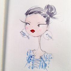 Warm-up sketch #fieldnotepencil #laceup #bird #passionchanellipstick
