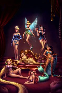 Disney Girls Pinup by KimiSz.deviantart.com