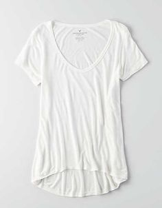 AEO Soft & Sexy Hi-Lo Jegging T-Shirt , Natural White   American Eagle Outfitters