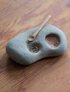 This natural stone salt and pepper holder is both functional and beautiful. A great piece to have out on display in the kitchen.